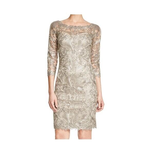 Tadashi Shoji New Gray Gold Women X27 S Size 12 Sheath Metallic Lace Dress
