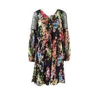 Betsey Johnson Women's Floral Laced Chiffon Sleeve Dress - Black/multi - 2