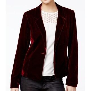 Kensie NEW Red Cherrywood Women's Size Large L Velvet Blazer Jacket
