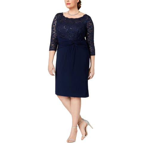 Alex Evenings Womens Plus Special Occasion Dress Sequined Lace