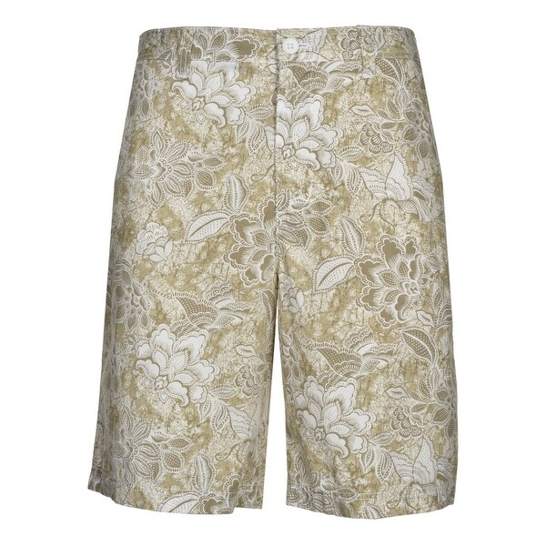 Club Room Mens Pebble Path Beige and White Floral Casual Shorts Flat Front