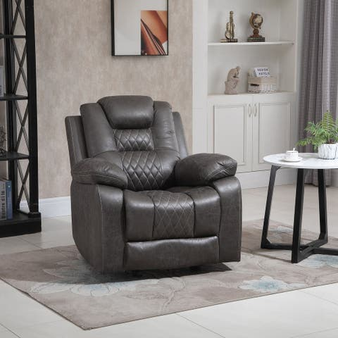 HOMCOM Overstuffed Manual Recliner Chair with Thick Sponge Padded Headrest and Armrest, and Rocking Function, Brown