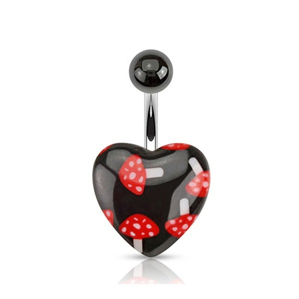Mushroom Print on Black Acrylic Heart 316L Surgical Steel Navel Belly Button Ring