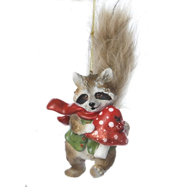 "7"" Storybook Garden Raccoon with Furry Tail and Mushroom Christmas Figure Ornament - brown"