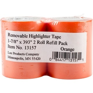 "Lee Products Removable Highlighter Tape 1-7/8""X393"" 2/Pkg-Orange"