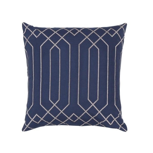 """18"""" Mirror Style Midnight Blue and Manatee Gray Decorative Throw Pillow"""