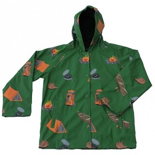 Foxfire FOX-601-37-8 Childrens Camping Raincoat, Green - Size 8