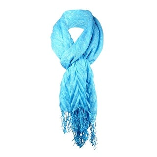 Collection Eighteen Women's Open Weave Pleated Fringe Scarf