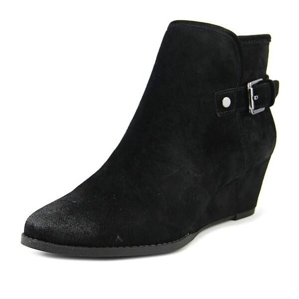 Franco Sarto Wichita Women Round Toe Leather Black Ankle Boot