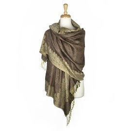 Pashmina Shawl Scarf Wrap Border Pattern Double Layered Reversible