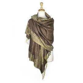"Pashmina Shawl Scarf Wrap Border Pattern Double Layered Reversible - Beige - 28"" x 70"""