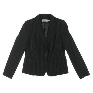 Calvin Klein Womens Pinstripe Notch Collar One-Button Blazer - 6