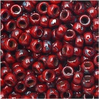 Czech Glass Matubo, 7/0 Seed Beads, 7.5 Gram Tube, Opaque Coral Red Picasso