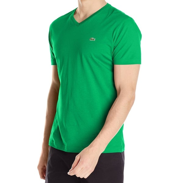 78320cff Lacoste NEW Chlorophyll Green Mens Size XL Solid Pima V-Neck Tee T-Shirt