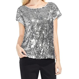Vince Camuto Silver Womens Size Large L Sequinced Front Blouse