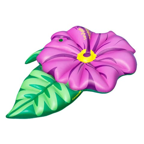 """70"""" Inflatable Green and Pink Summer Hibiscus Flower Lounge Pool Float"""