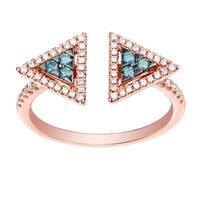 Prism Jewel 0.36 Carat Round Blue Diamond With Diamond Designer Ring