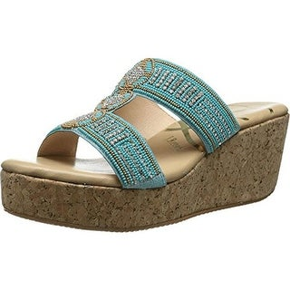 J. Renee Womens Trena Beaded Cork Slide Sandals