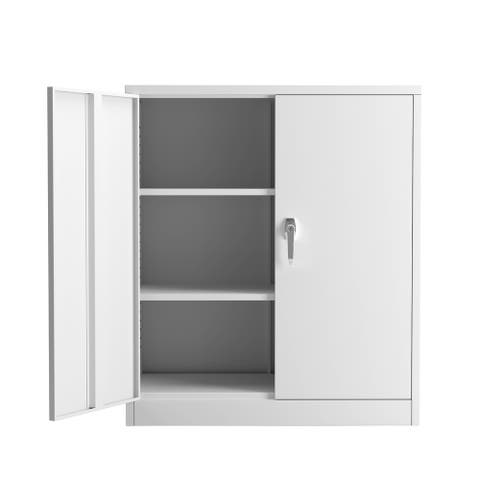 Steel File Cabinet with 2 Doors and 2-Layer Adjustable Shelves, Grey