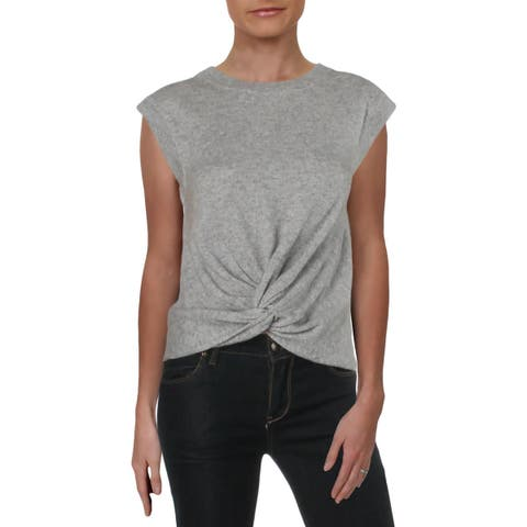 Aqua Womens Crewneck Sweater Cashmere Twist Front