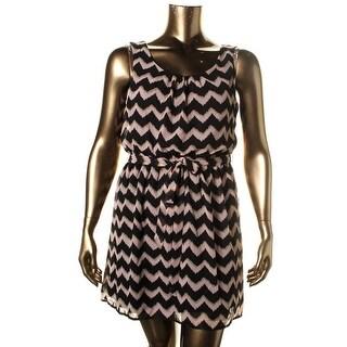As U Wish Womens Juniors Casual Dress Chiffon Chevron