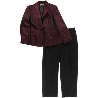 Kasper NEW Red Black Jacquard Print Womens Size 22W Plus Pant Suit Set
