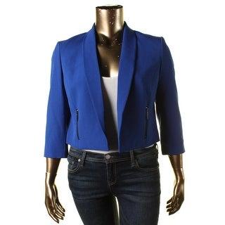 Kasper Womens Crepe Solid Open-Front Blazer