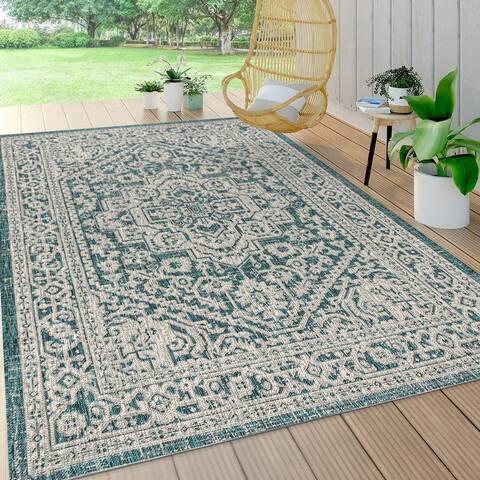 JONATHAN Y Sinjuri Medallion Textured Weave Indoor/Outdoor Area Rug