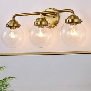 Link to 3-Light Antique Brass Vanity Light with Globe Clear Glass Shades - Antique Brass - Antique Brass Similar Items in Bathroom Vanity Lights