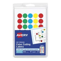 Avery Removable-Adhesive Translucent Dots For Handwrite Only, 3/4 in, Green, Light Blue, Red, Yellow, Pack of 1015