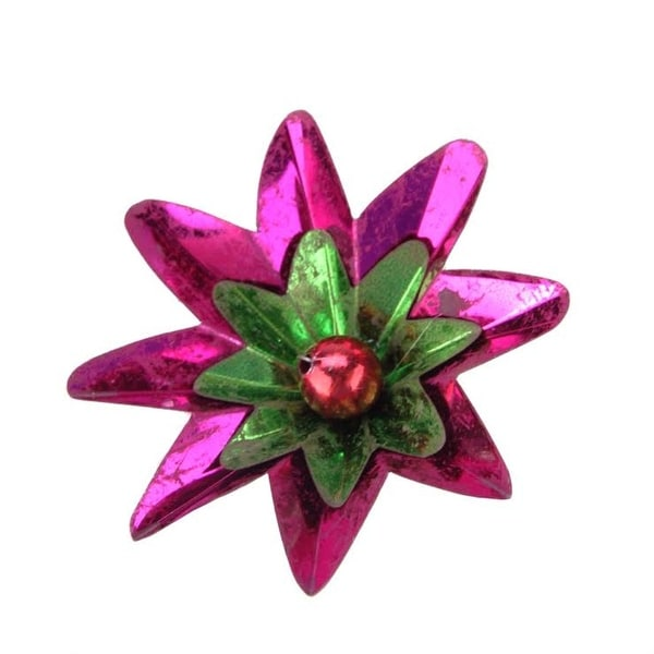 "2.75"" Distressed Shiny Fuchsia, Green and Red Flower Clip-On Christmas Tree Ornament"