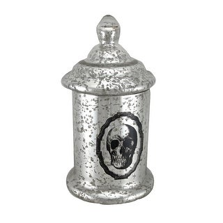 12 1/2 Inch Tall Silver Mercury Glass Skull Apothecary Jar