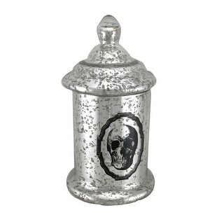 12 1/2 Inch Tall Silver Mercury Glass Skull Apothecary Jar
