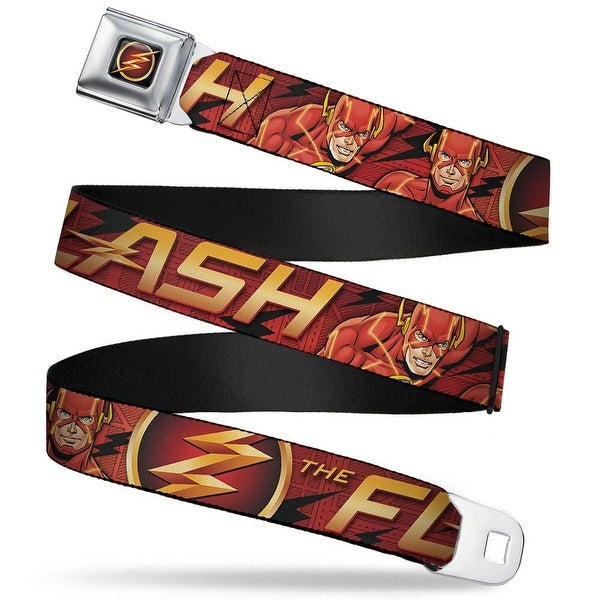 Flash Logo3 Full Color Black Gold Red The Flash Logo3 Poses Black Red Gold Seatbelt Belt