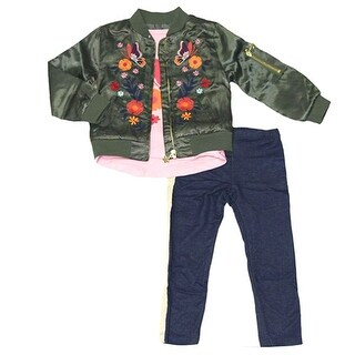 Flapdoodles Little Girls Olive Flower Zipper Jacket Top 3 Pc Pant Outfit