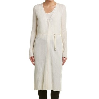 Elie Tahari NEW White Ivory Belted Medium M Tunic Cashmere Sweater