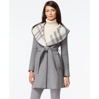 DKNY Plaid-Hood Belted Coat Grey/White in Size 10