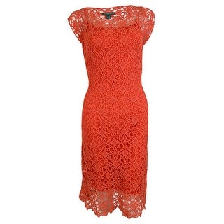 Lauren Ralph Lauren Women's Crochet Cotton Lace Overlay Dress - hot pepper