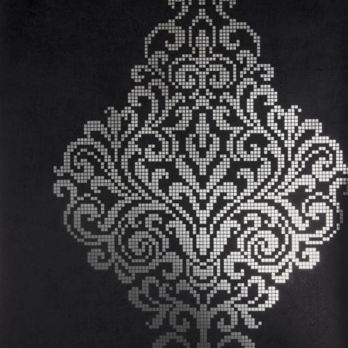 Brewster 2542-20747 Lux Charcoal Foil Damask Wallpaper