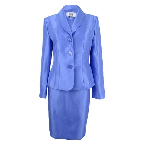 Le Suit Women's Shawl-Collar Shimmer Skirt Suit