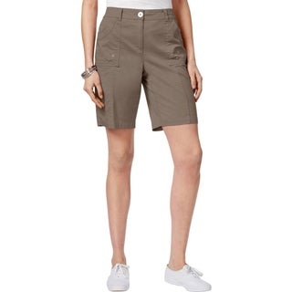 Karen Scott Womens Plus Shorts Comfort Waist Curved Pockets - brass iron