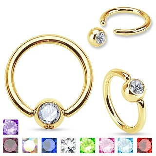 Press Fit Gem Ball Gold Plated Over Surgical Steel Ring (Sold Ind.)