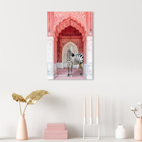Oliver Gal 'Zebra Entrance Coral' Architecture Wall Art Canvas Print