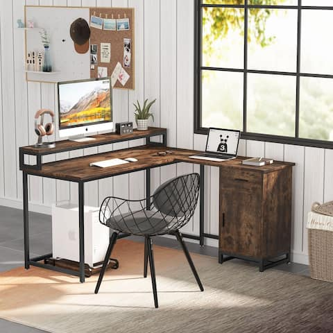 Tribesigns Industrial L shaped Computer Desk with Drawer and Storage Cabinet, Office Corner Desk