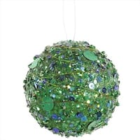 NorthLight Green Sparkle Kissing Christmas Ball Ornament - 4 in.
