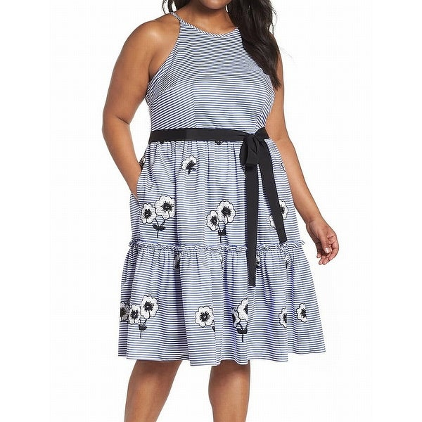 Eliza J Women's Plus Striped Floral A-Line Dress