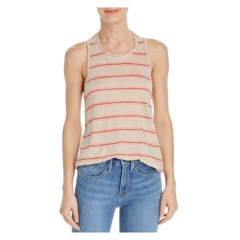 JOIE Womens Beige Striped Sleeveless Jewel Neck Tank Top Size XL