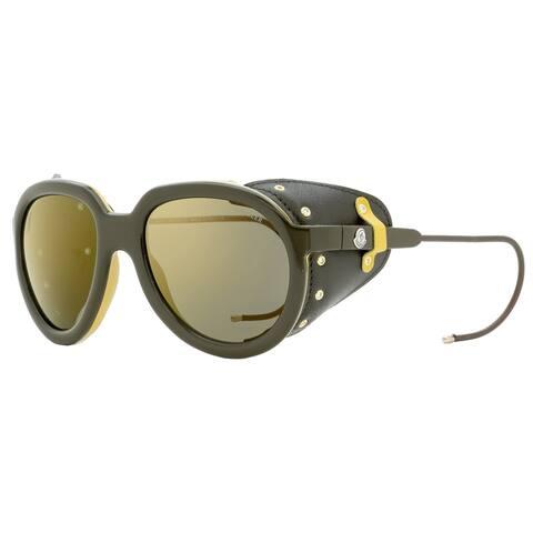 Moncler ML0003 50G Mens Dark Brown/Mustard 55 mm Sunglasses - Dark Brown/Mustard - Dark Brown/Mustard