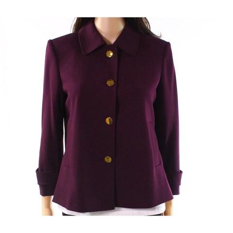 Calvin Klein Aubergine Purple Womens Size 4 Button-Front Jacket