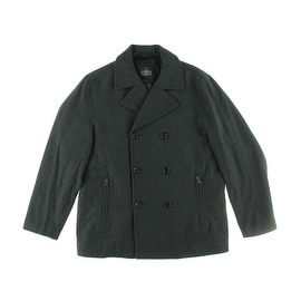 Towne By London Fog Mens Wool Blend Double-Breasted Pea Coat